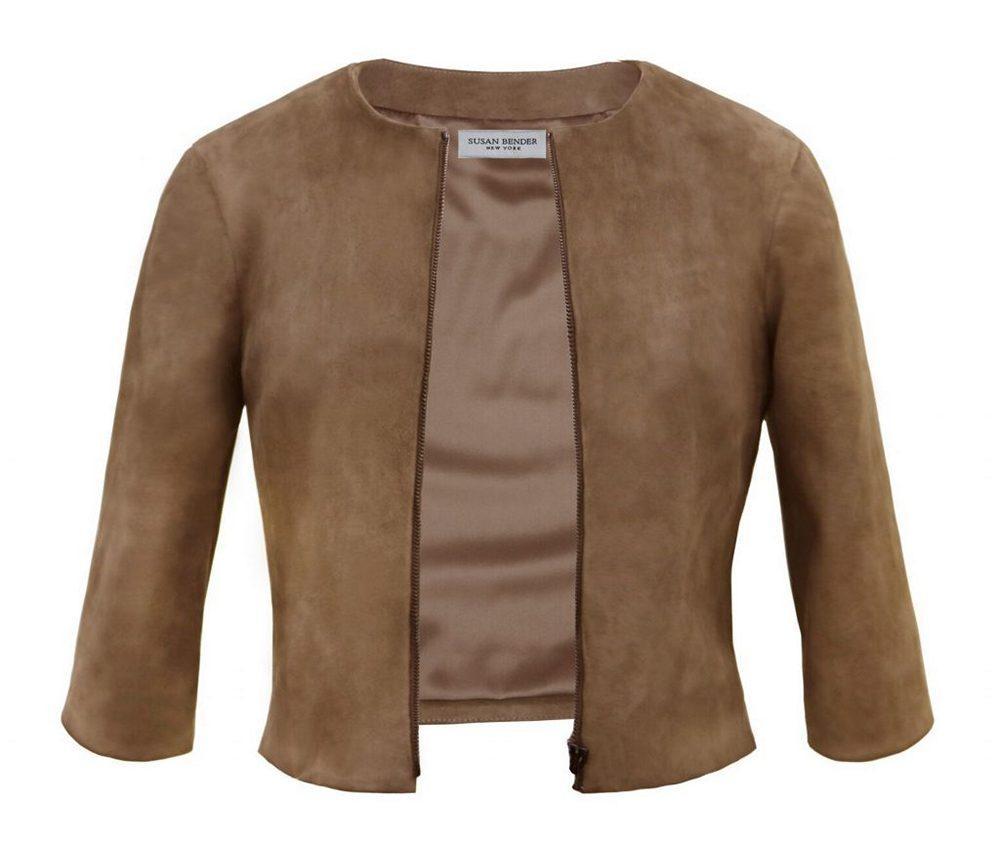 Stretch Suede Cardigan Jacket Item # SB2500-R21