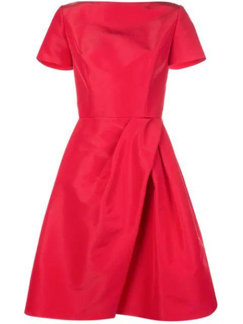Bateau Neck Dress With Drape Skirt