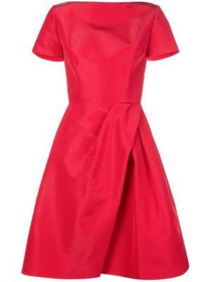 Bateau Neck Dress With Drape Skirt