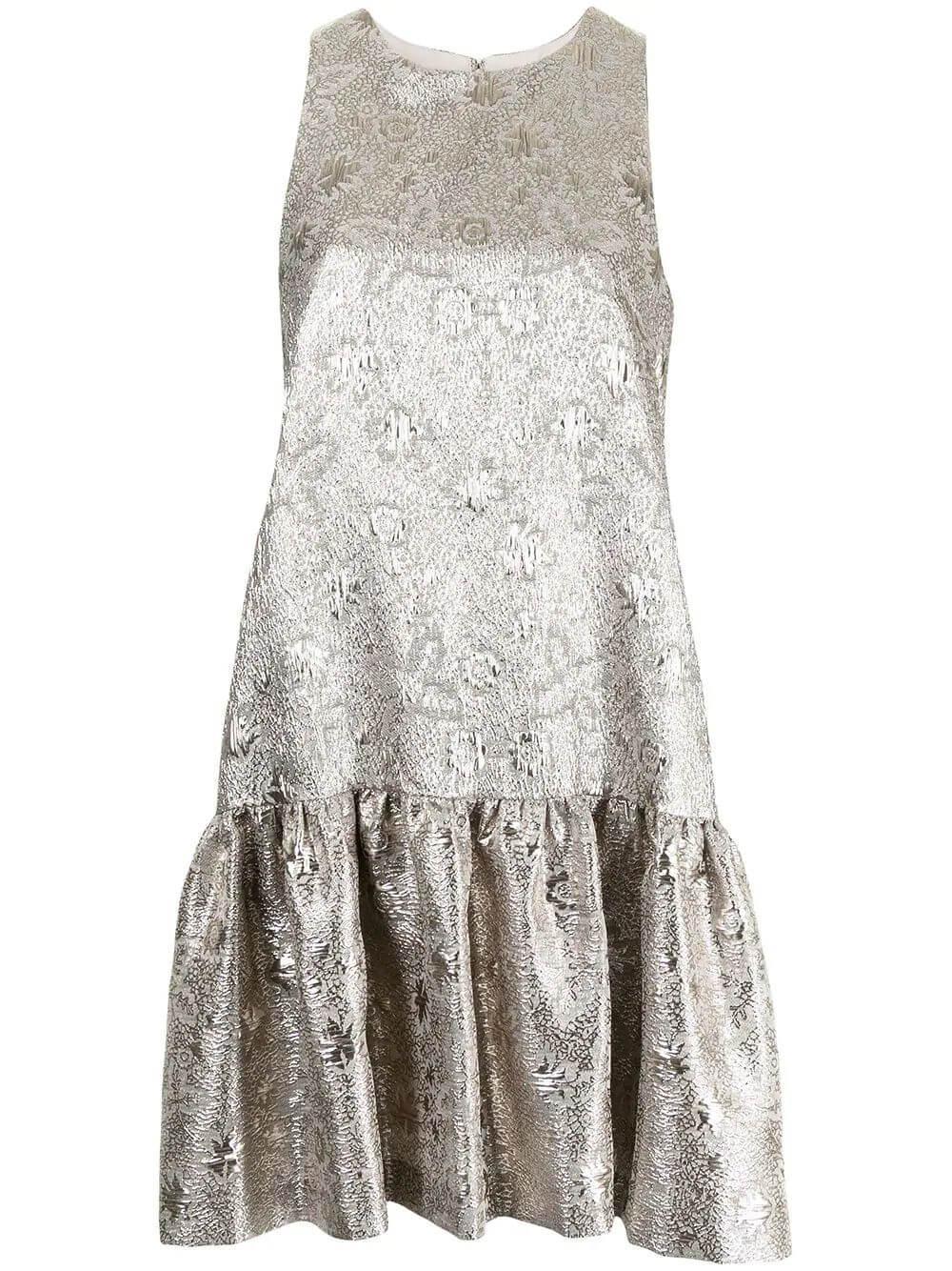 Floral Jacquard Flounce-Hem Dress