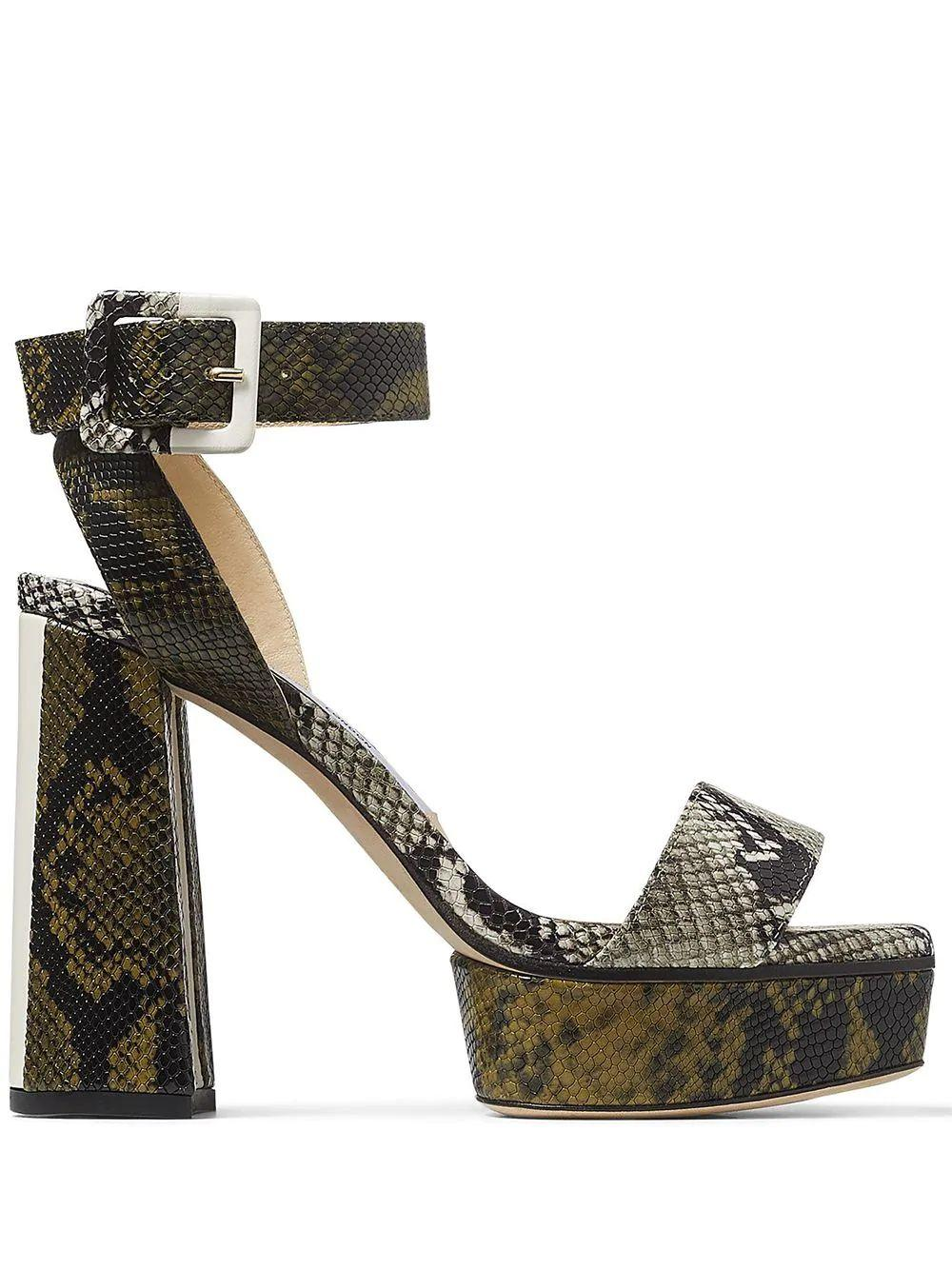 Jax 115mm Snakeskin Platform Sandals