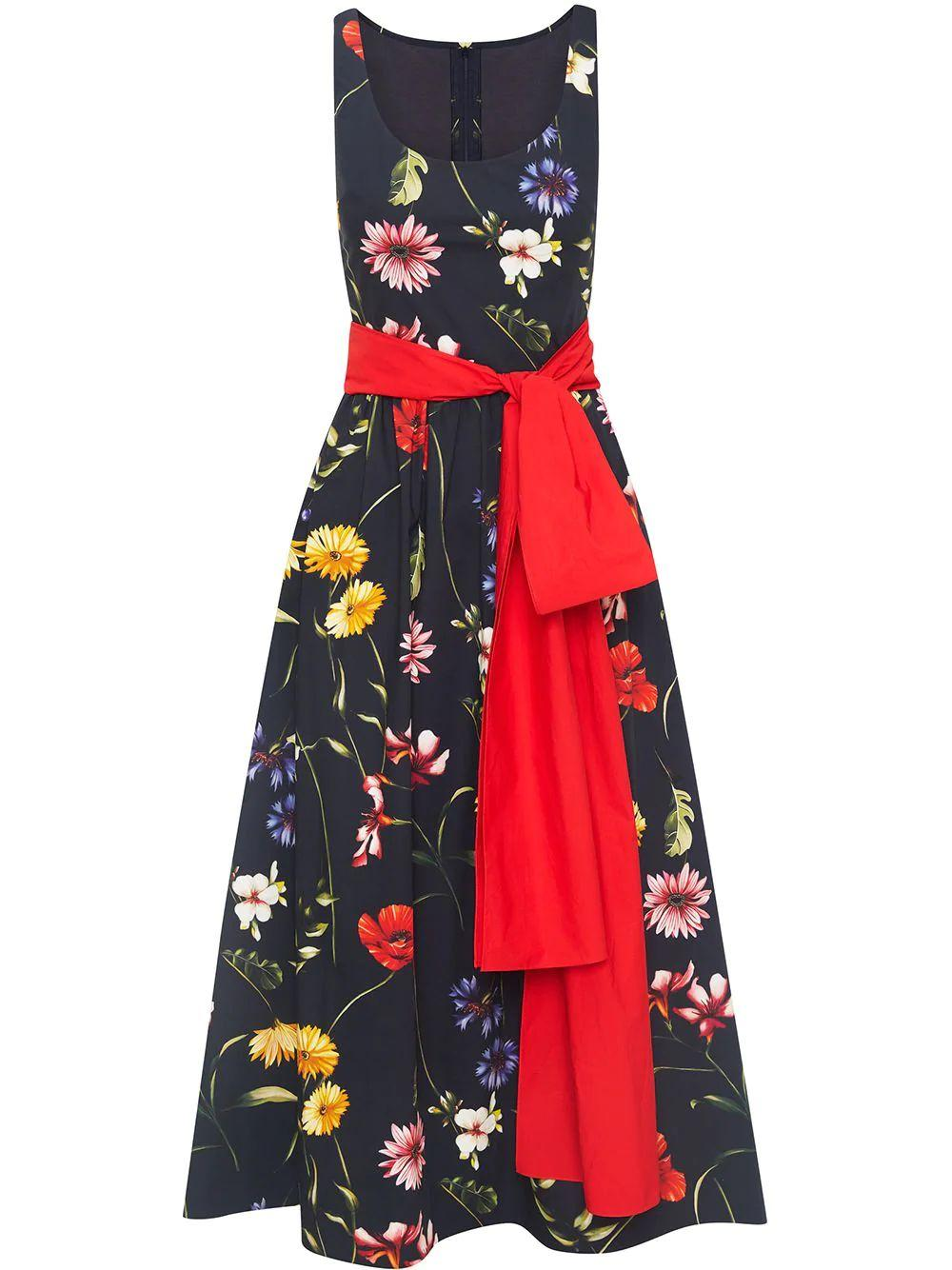 Floral Dress With Bow Detail Item # 21RN219PCF