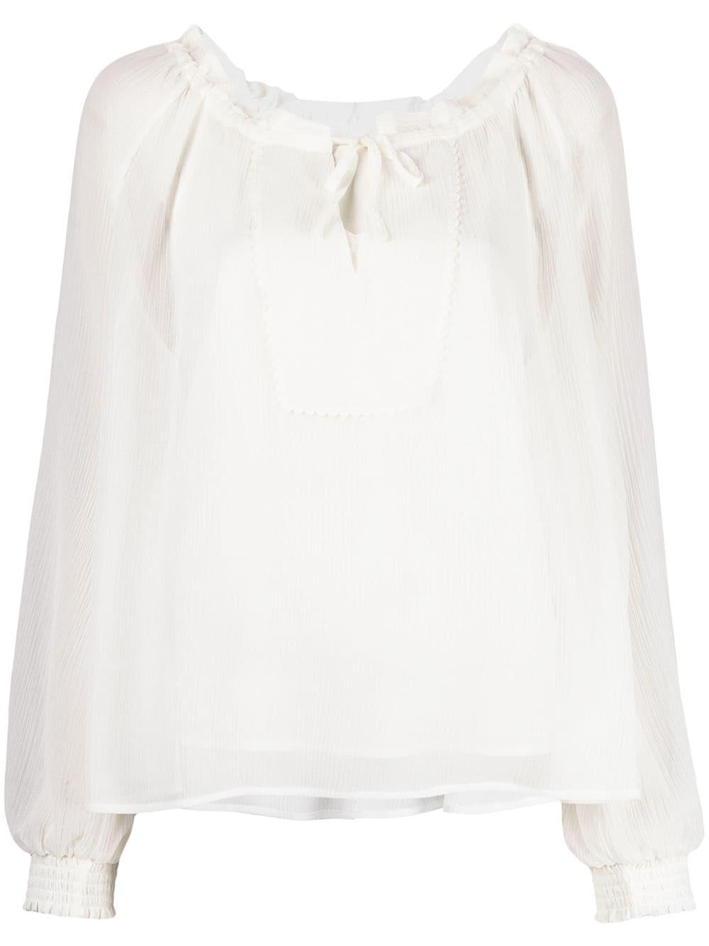 Tie Neck Long Sleeve Blouse Item # CHS21SHT52031