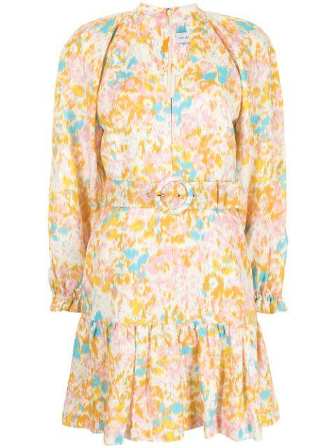 Ottoman Floral Belted Mini Dress