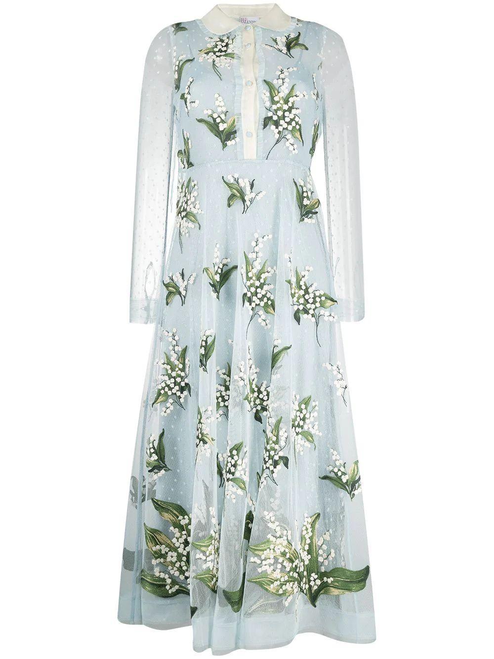 Floral Tulle Midi Dress