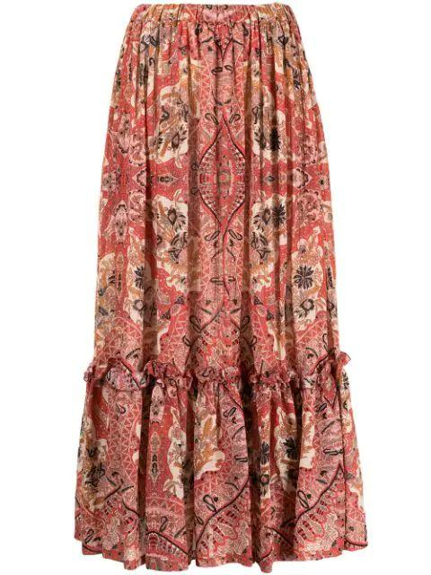 Paisley Tiered Skirt Item # 211D141534312