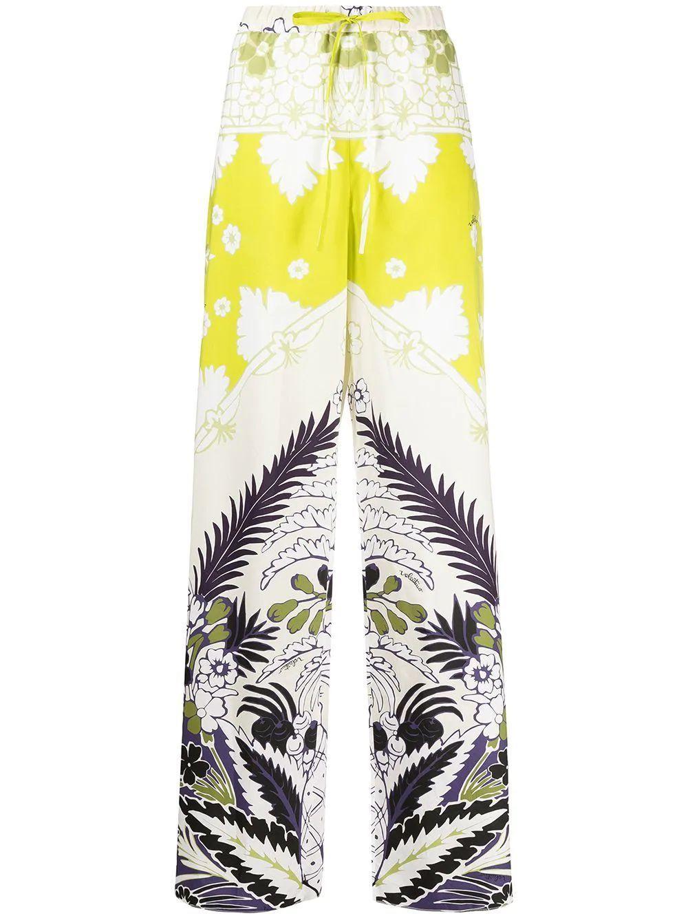 Printed Wide Leg Poplin Pants