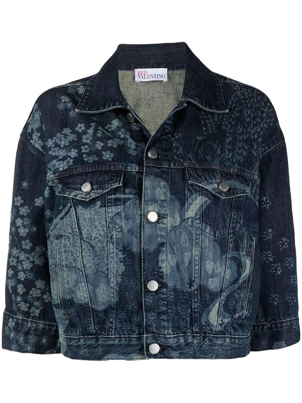 Floral Embroidered Denim Jacket Item # VR3DC01M5P0