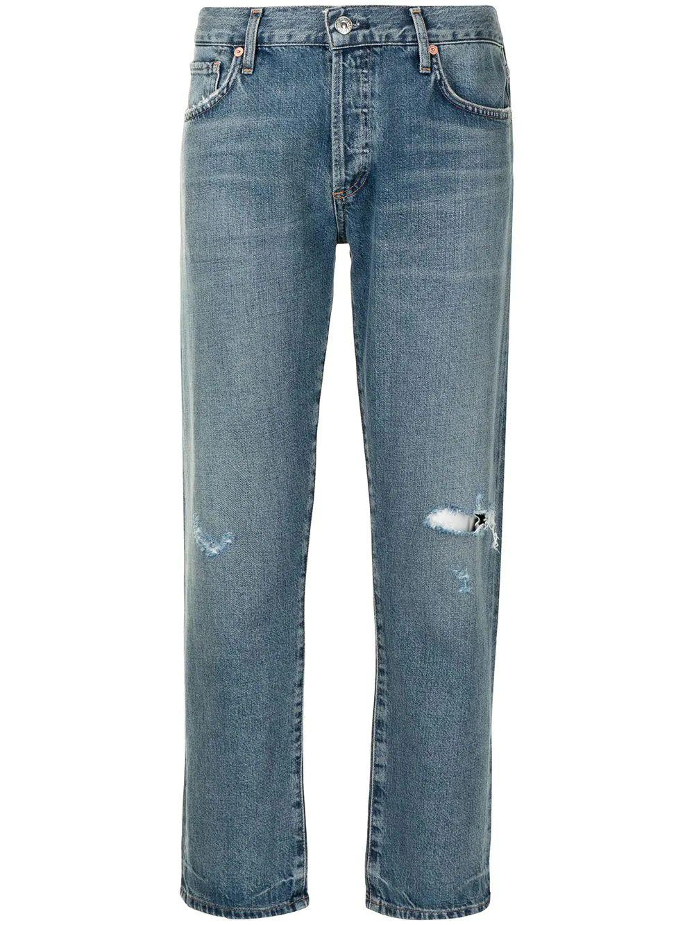 Emerson Distressed Cropped Jean Item # 1797-1292