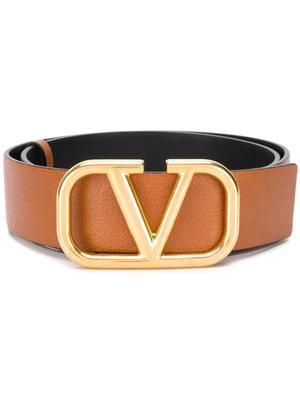 Gold Buckle Reversible Logo Belt