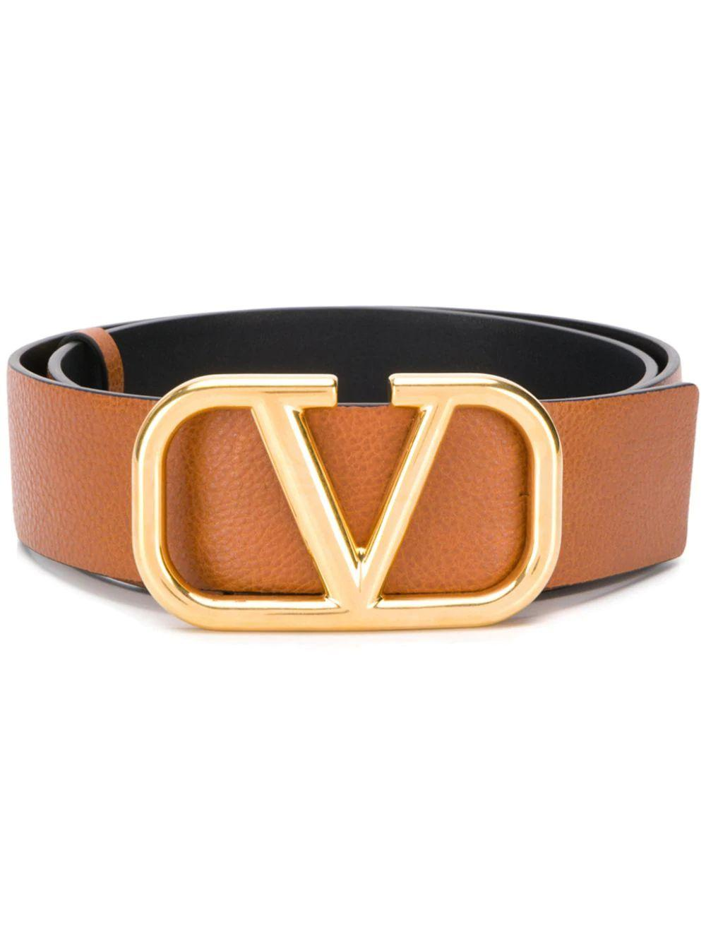 Gold Buckle Reversible Logo Belt