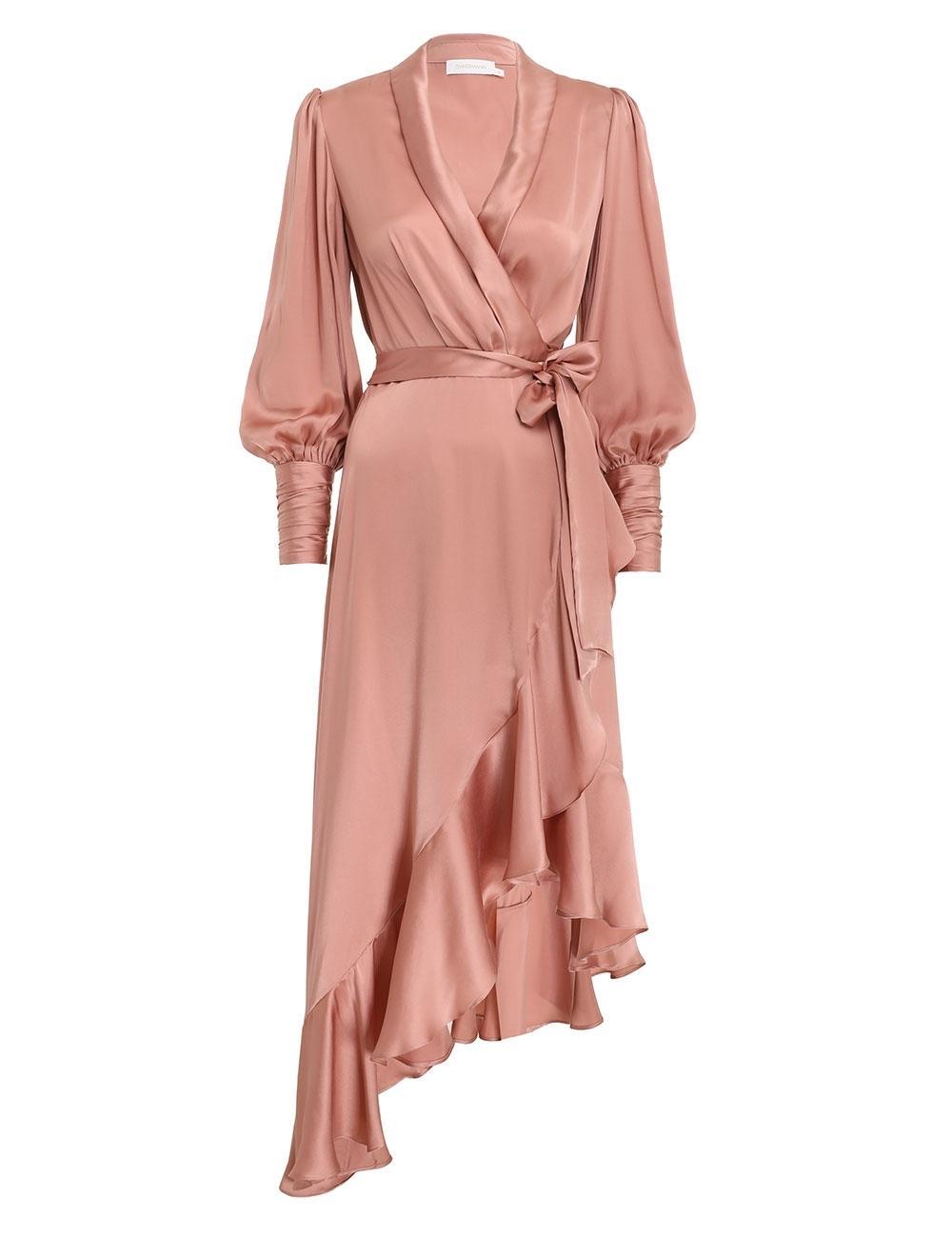 Silk Wrap Midi Dress Item # 8066DRBOT