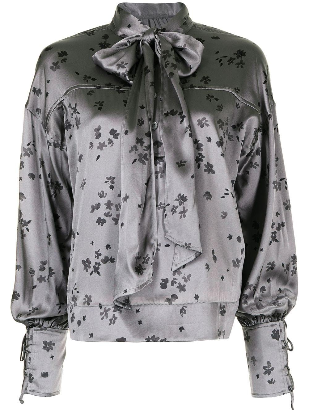 Floral Silk Stretch Satin Blouse