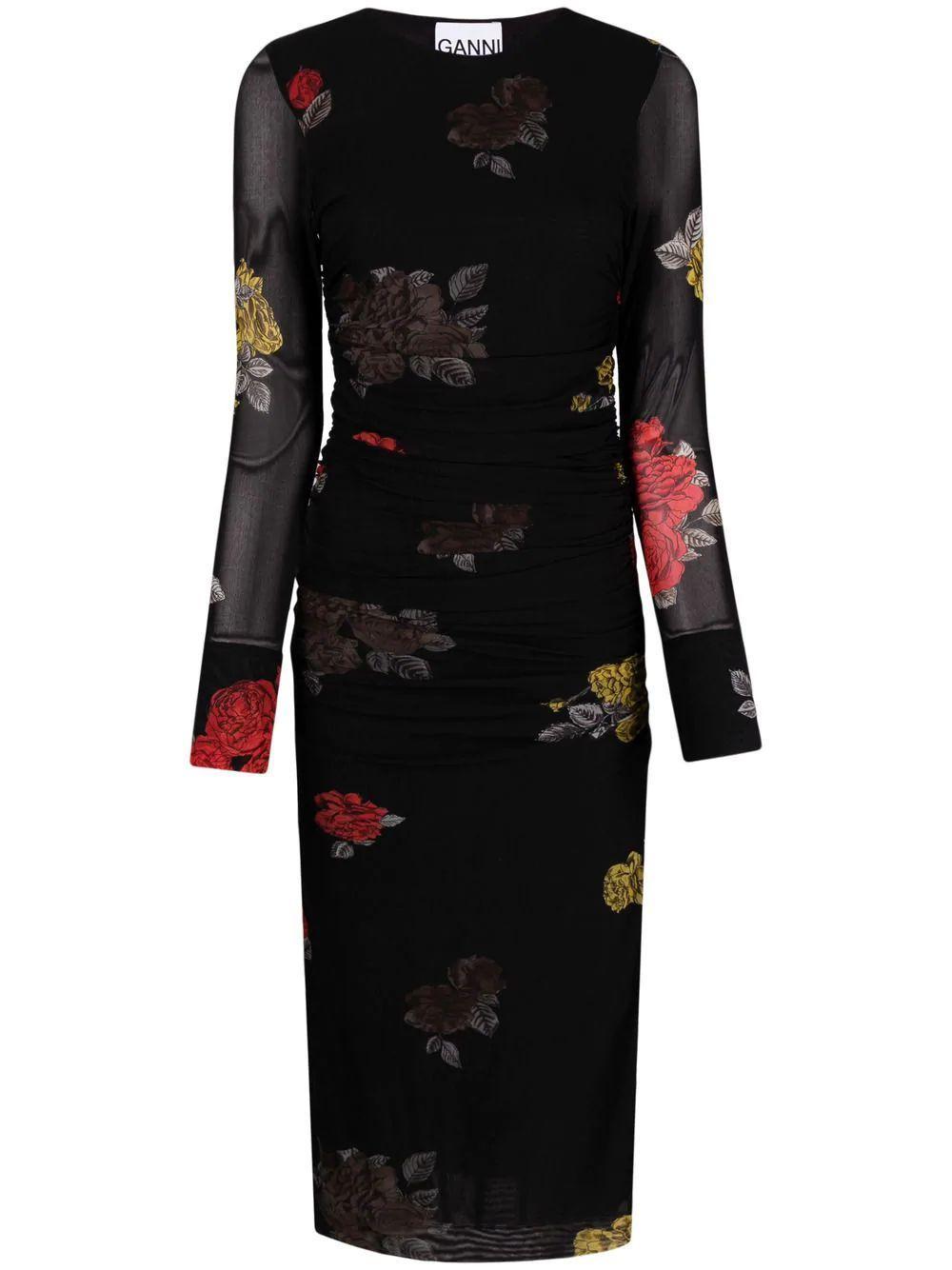Floral Printed Mesh Dress Item # T2741