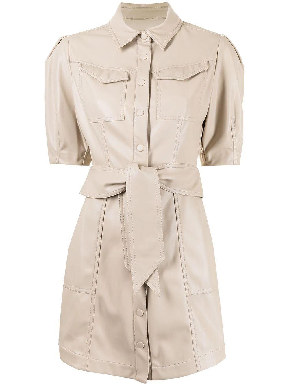 Novah Vegan Leather Shirt Dress