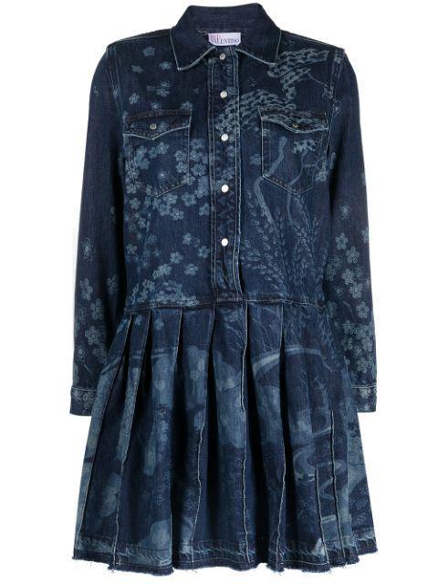 Floral Embroidered Denim Dress Item # VR3DA00U5P0