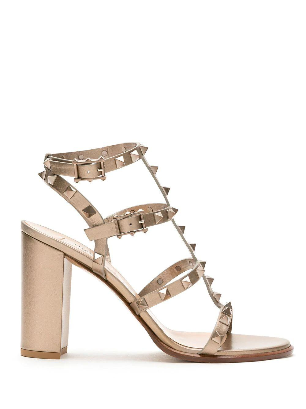 Rockstud Block Heel Sandals Item # VW2S0749RZD