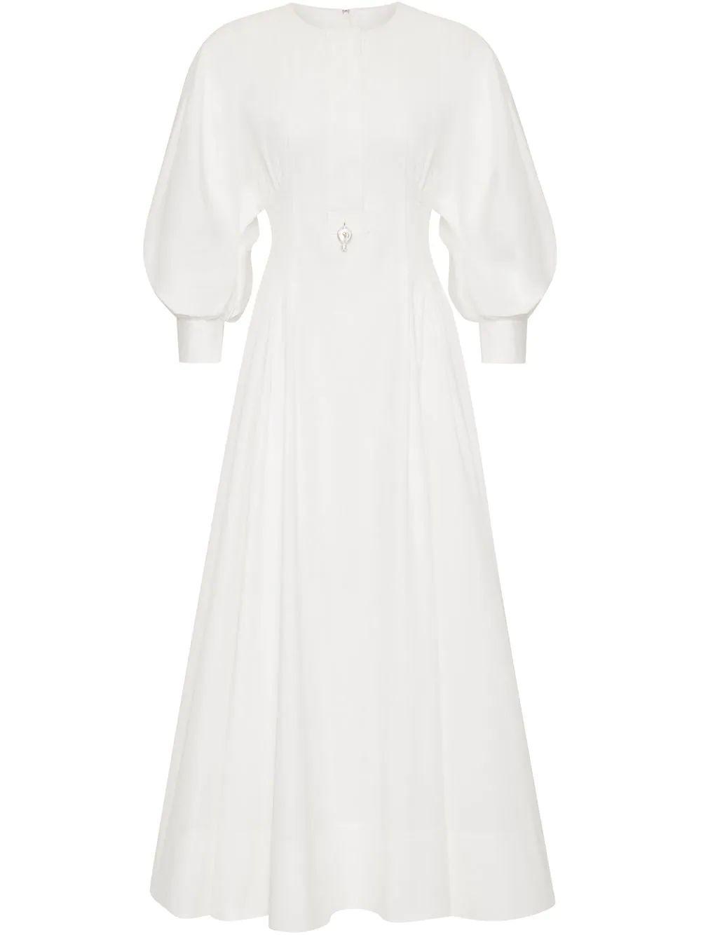 Balloon Sleeve Midi Dress