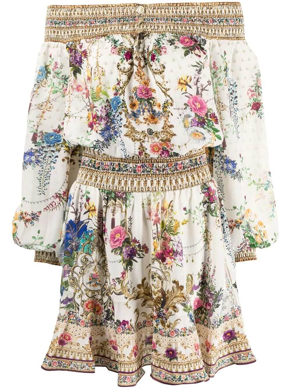 Off The Shoulder Floral Baroque Print Dress
