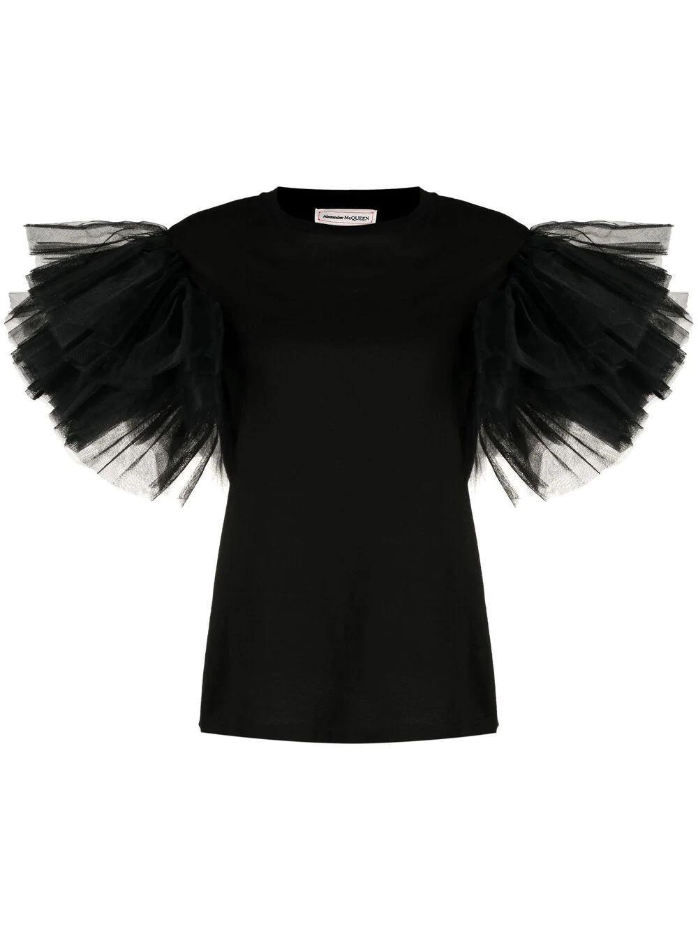 Tulle Sleeve T- Shirt Item # 654213QLAAA