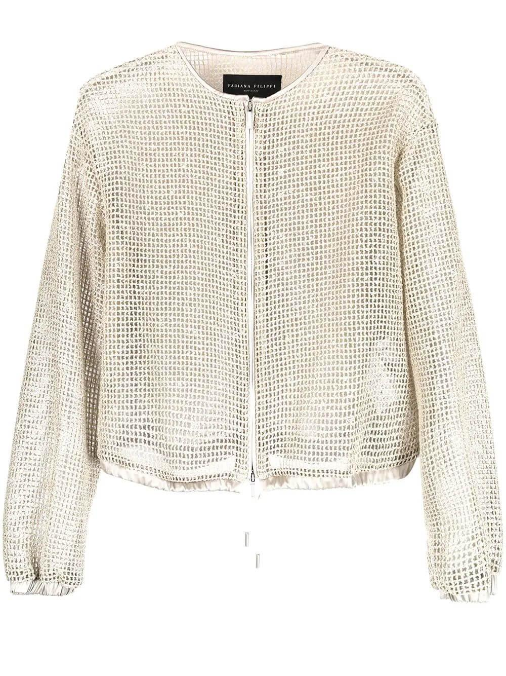 Netted Bomber Jacket With Sequins