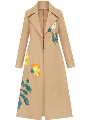 Painted Floral Trench Coat