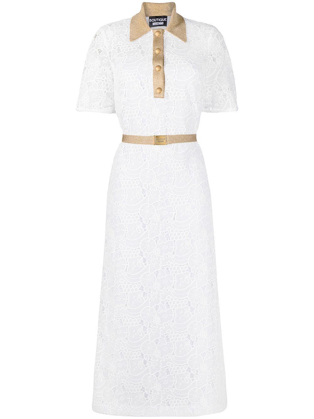 Lace Midi Dress With Contrast Trim Item # 4140833