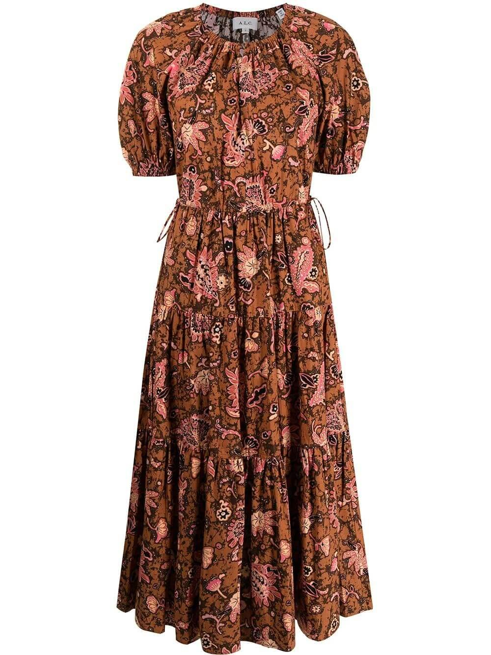 Mischa Puff Sleeve Printed Maxi Dress