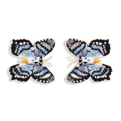 Gray Cliff Butterfly Stud Earrings