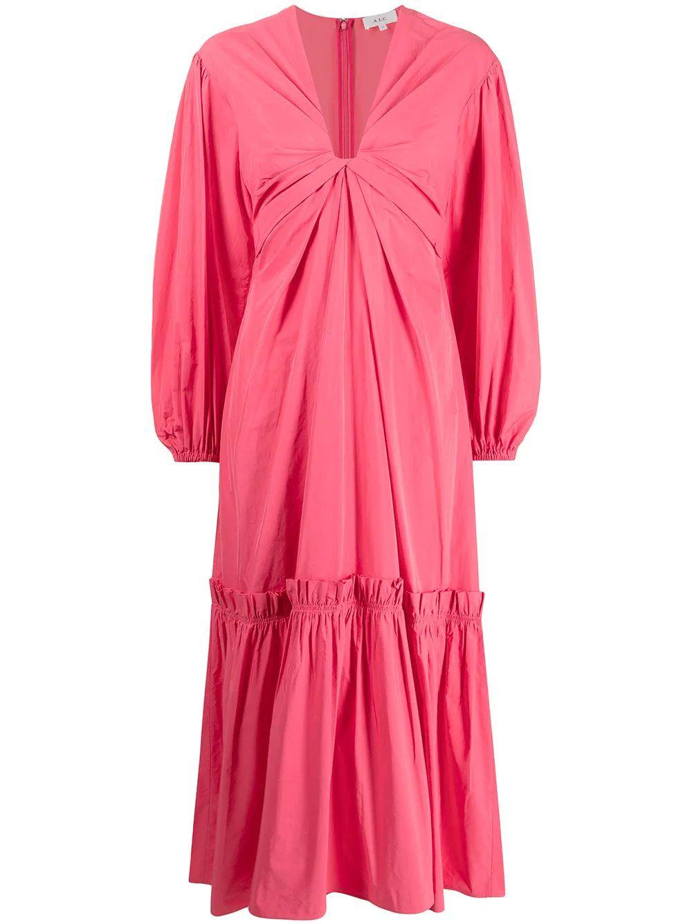 Irena Long Sleeve Cotton Tiered Maxi Dress