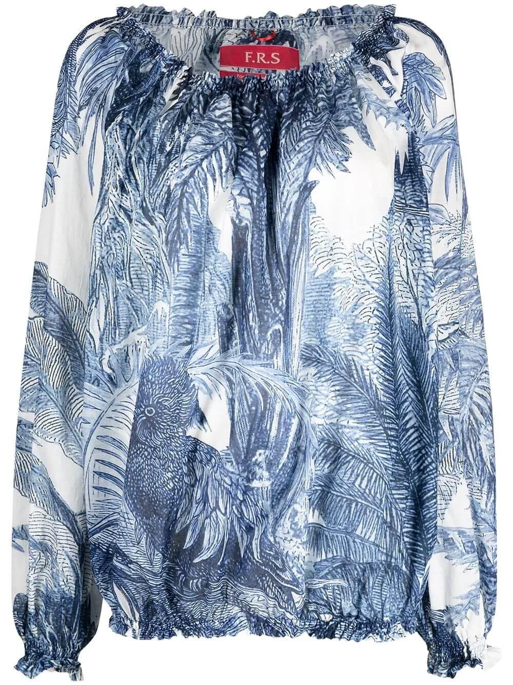 Foliage Printed Cotton Top Item # CA000190-TE00538-179
