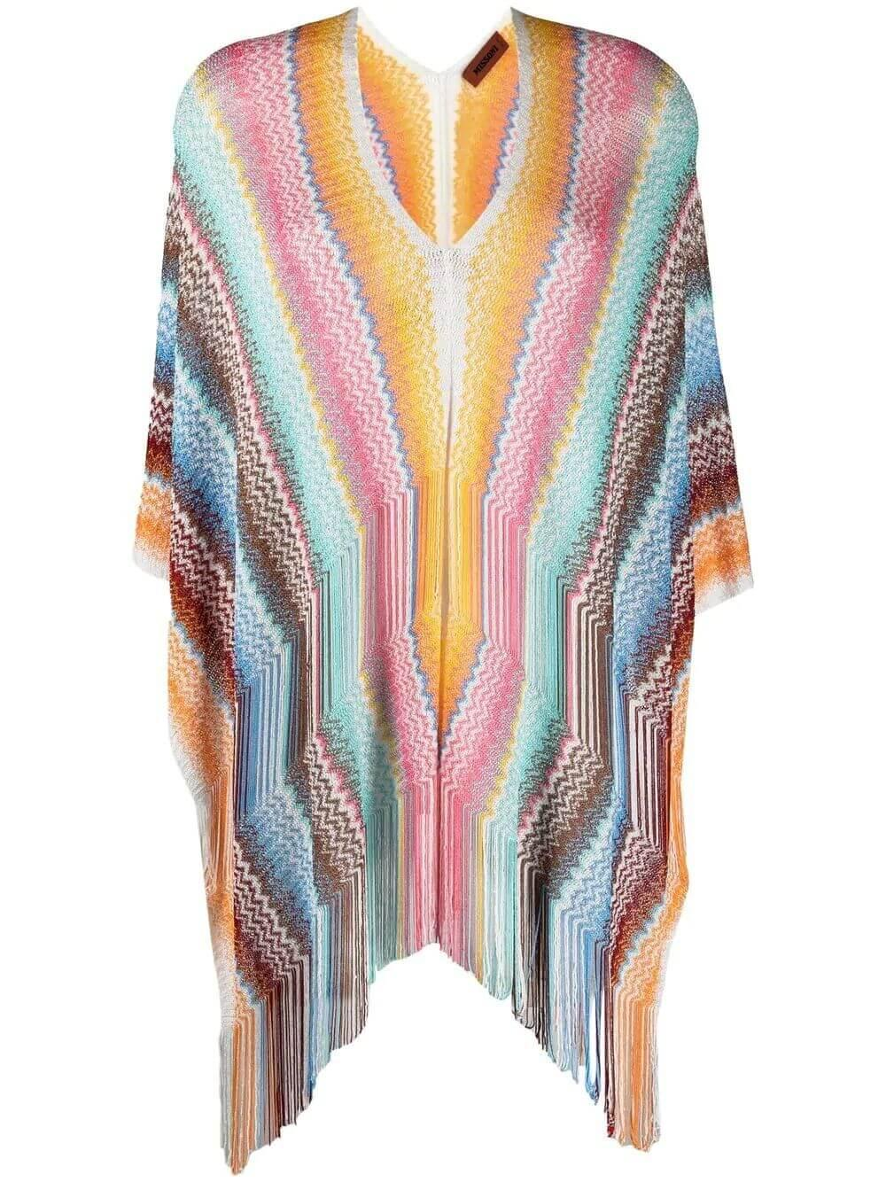 Striped Poncho With Fringe Trim Item # QPT8VMD7871