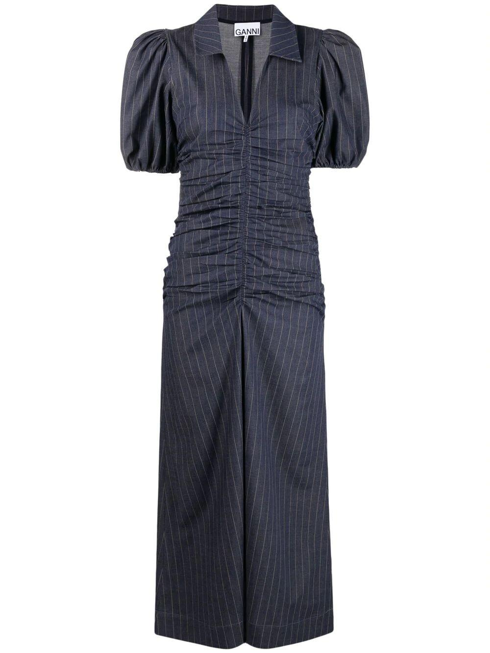 Pinstripe Ruched Midi Dress