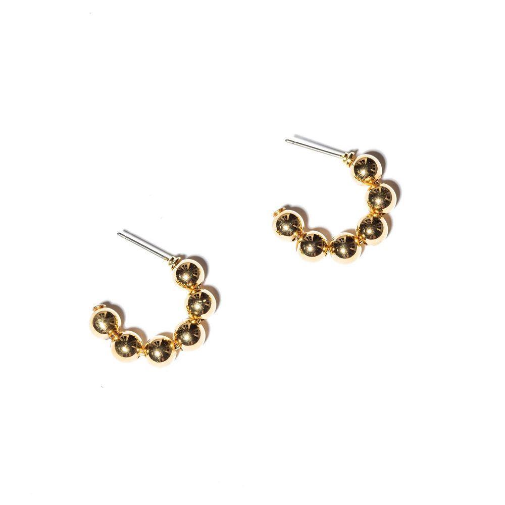 Beaded Huggie Hoop Earrings Item # LS0791GO