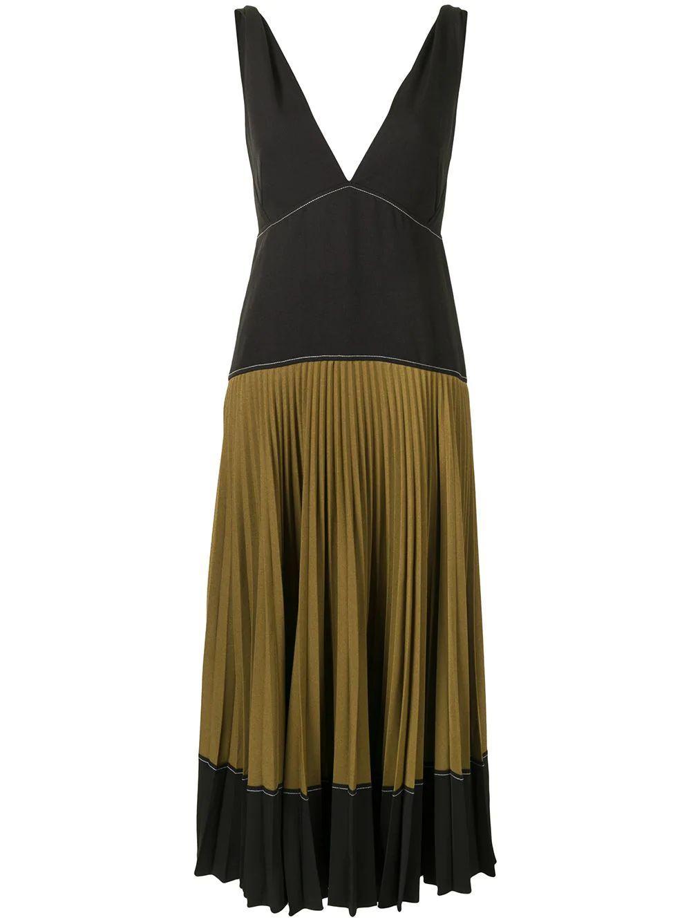 Color Blocked Pleated Dress Item # WL2123163