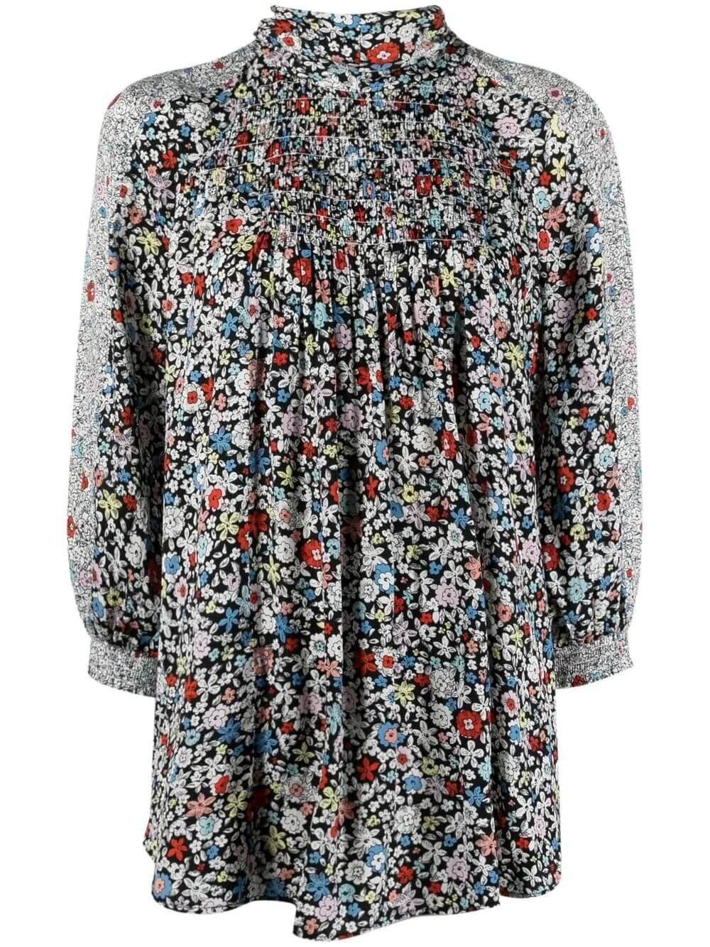 Floral- Print Pleated Blouse Item # CHS21UHT03023