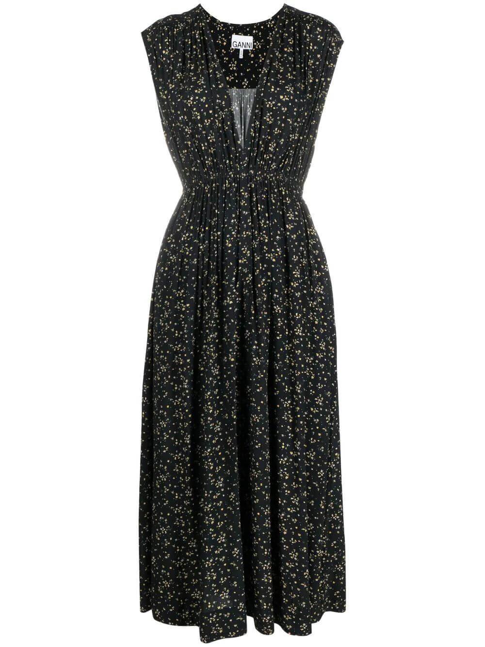 Printed Crepe Floral Dress Item # F5735