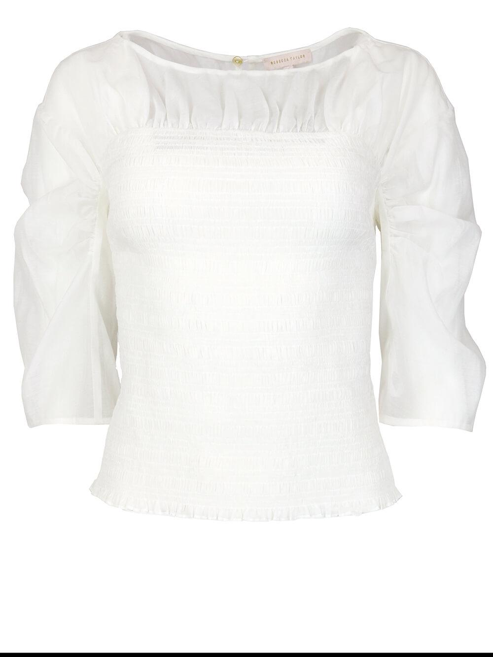 Ruched Organza Blouse