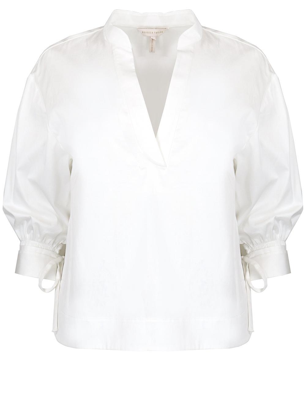 Short Sleeve Twill Blouse Item # 121135B686