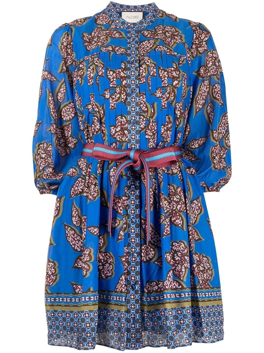 Botanical-Print Tie-Waist Dress