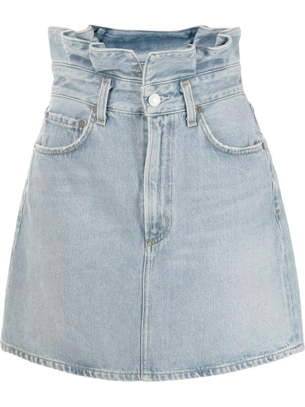 Lettuce Waistband Denim Skirt Item # A3025-1141