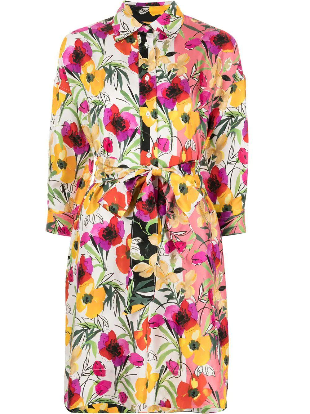 Floral Printed Silk Shirt Dress