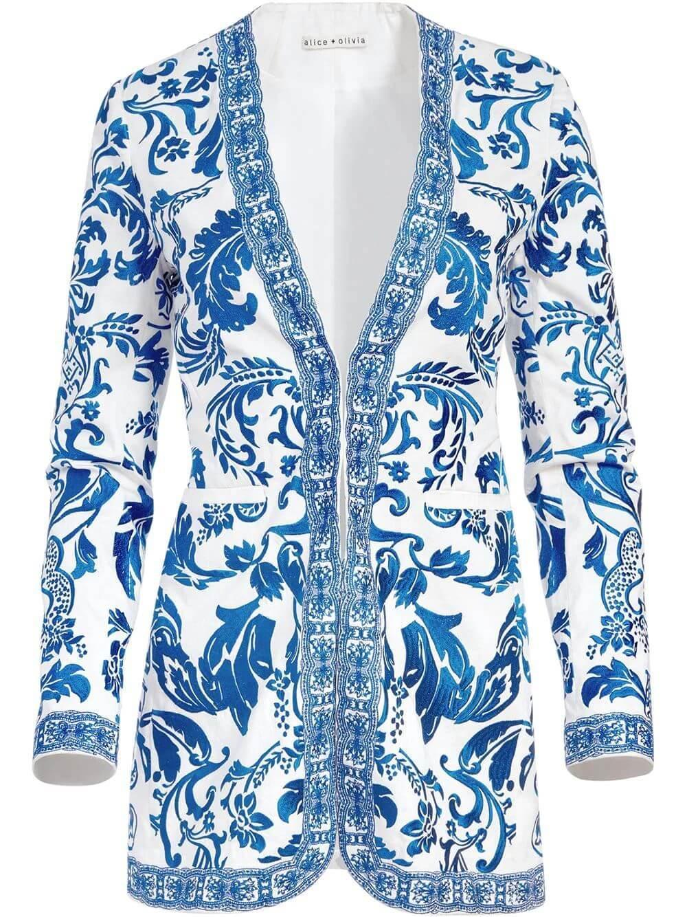 Chriselle Embroidered Long Blazer