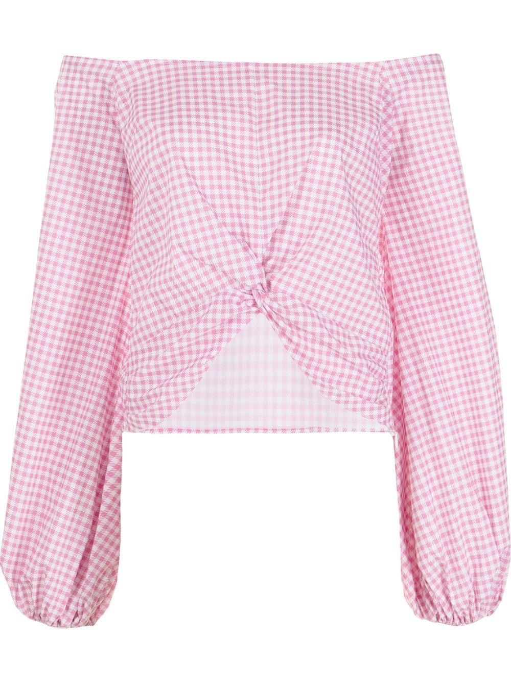 Maddie Gingham Off Shoulder Top Item # T415GPSS21-C