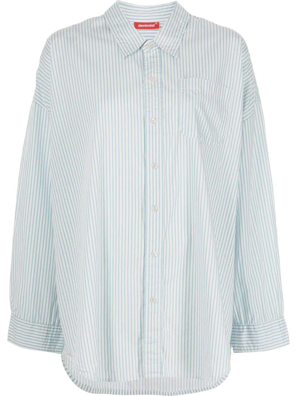 Button Front Striped Shirt Item # DSW4230-480B