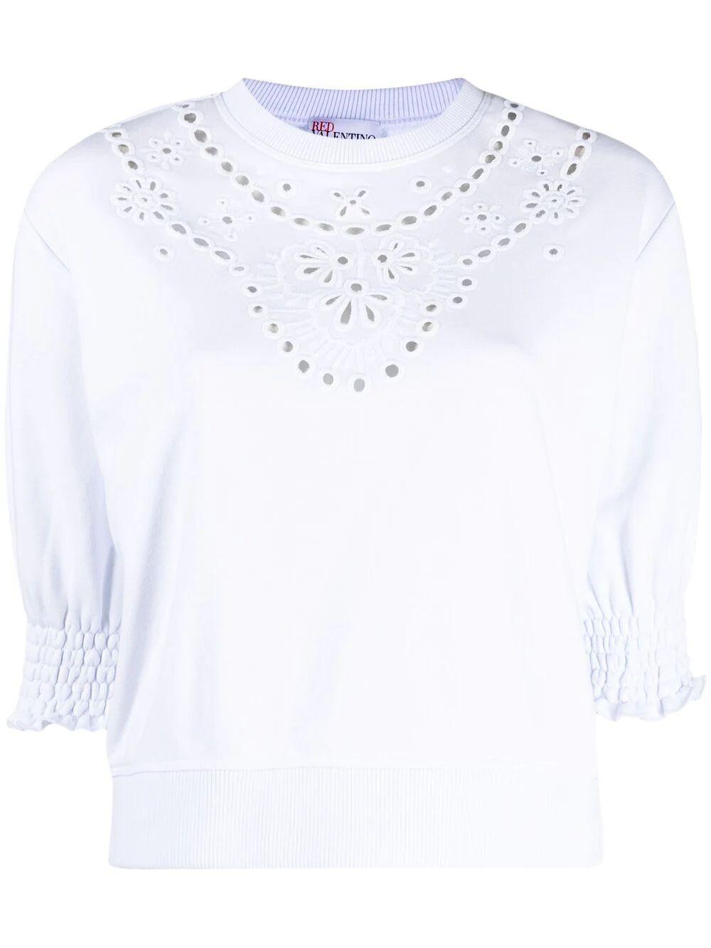 Embroidered Yoke Sweatshirt Item # VR0MF06K5W2