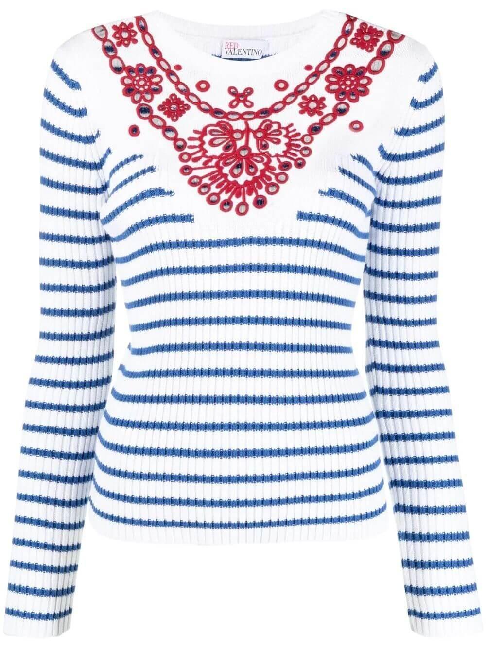 Striped Knit With Embroidered Yoke Item # VR0KC08F5U4