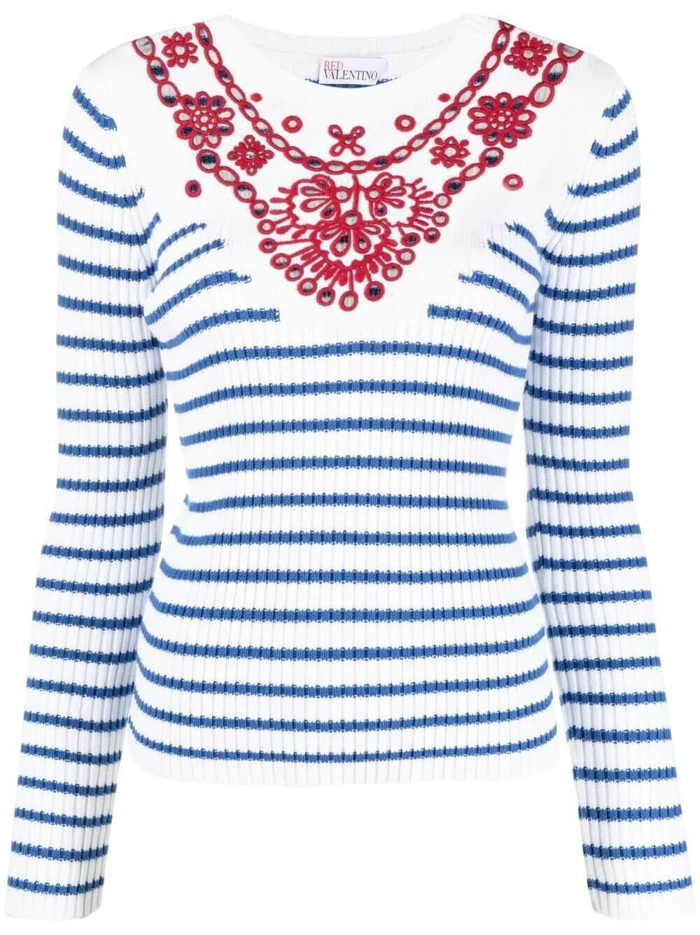 Striped Knit With Embroidered Yoke
