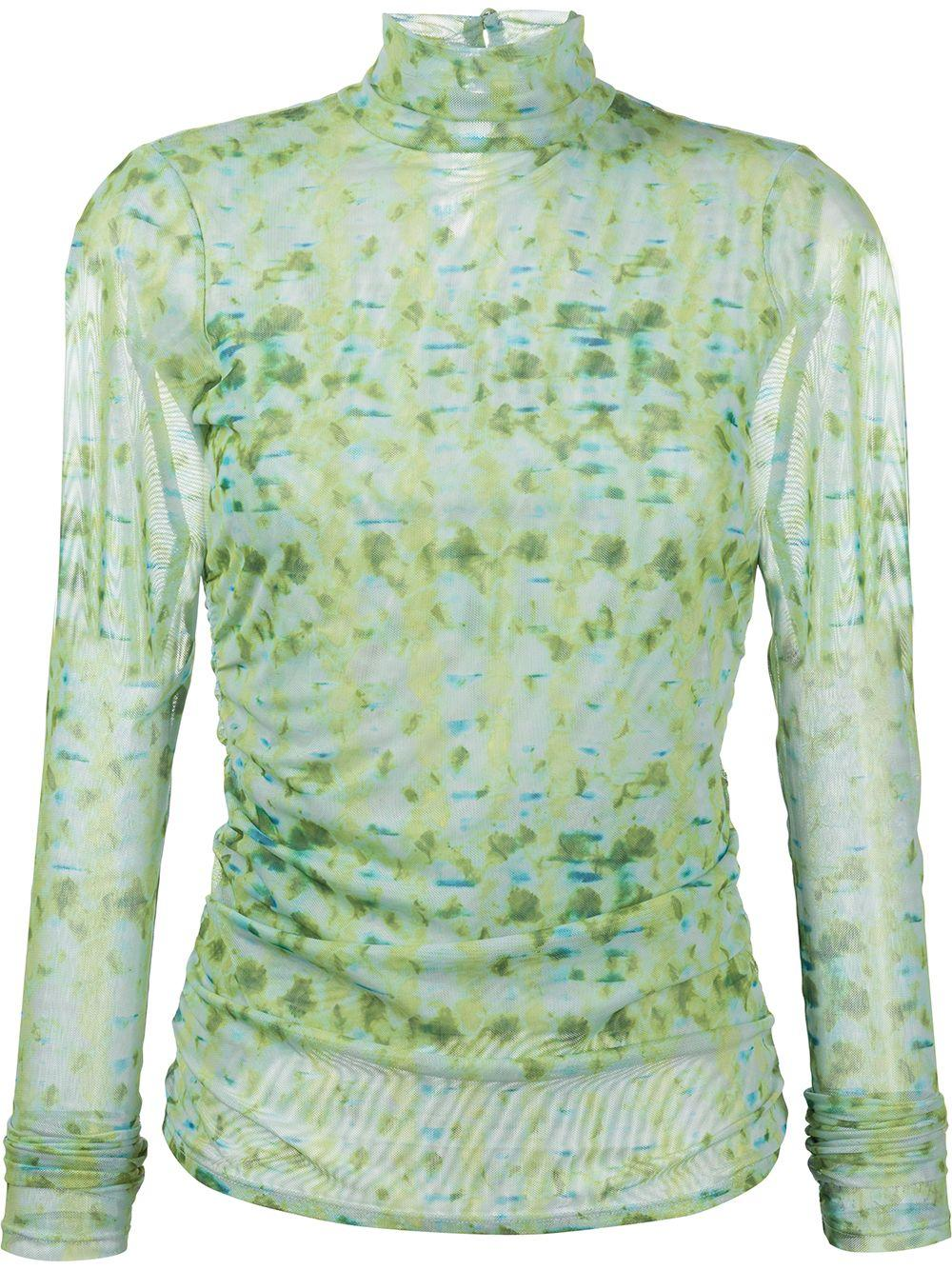 Shirred Tie-Dye Turtleneck