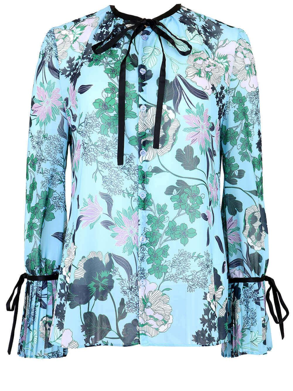 Pleated Cuff Floral Blouse
